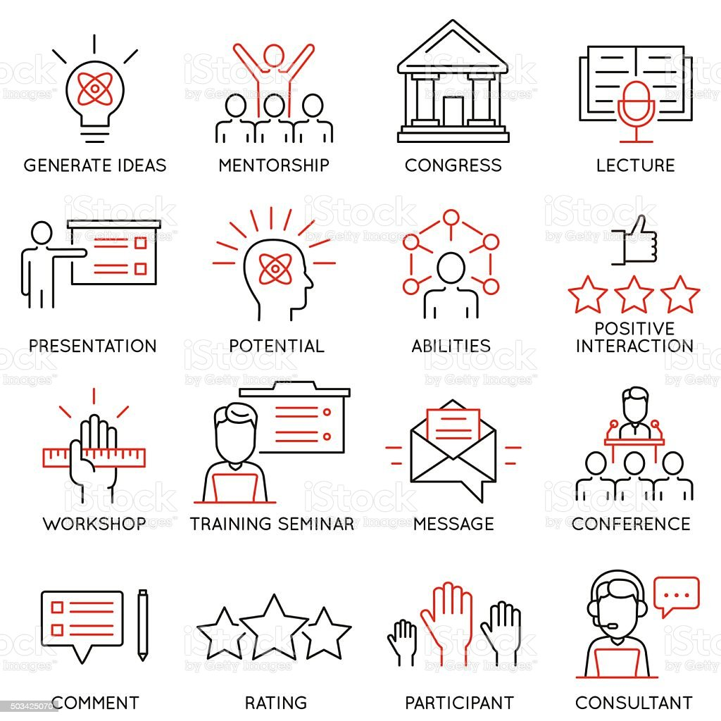 Vector icons related to career progress, professional consulting service vector art illustration