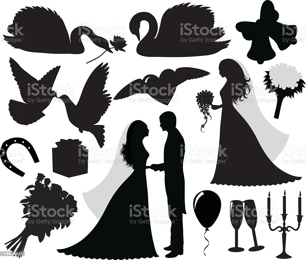 Vector icons relating to a wedding vector art illustration