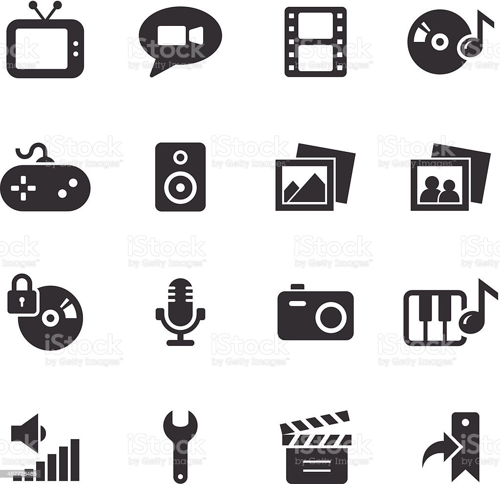 Vector icons relating to multimedia vector art illustration