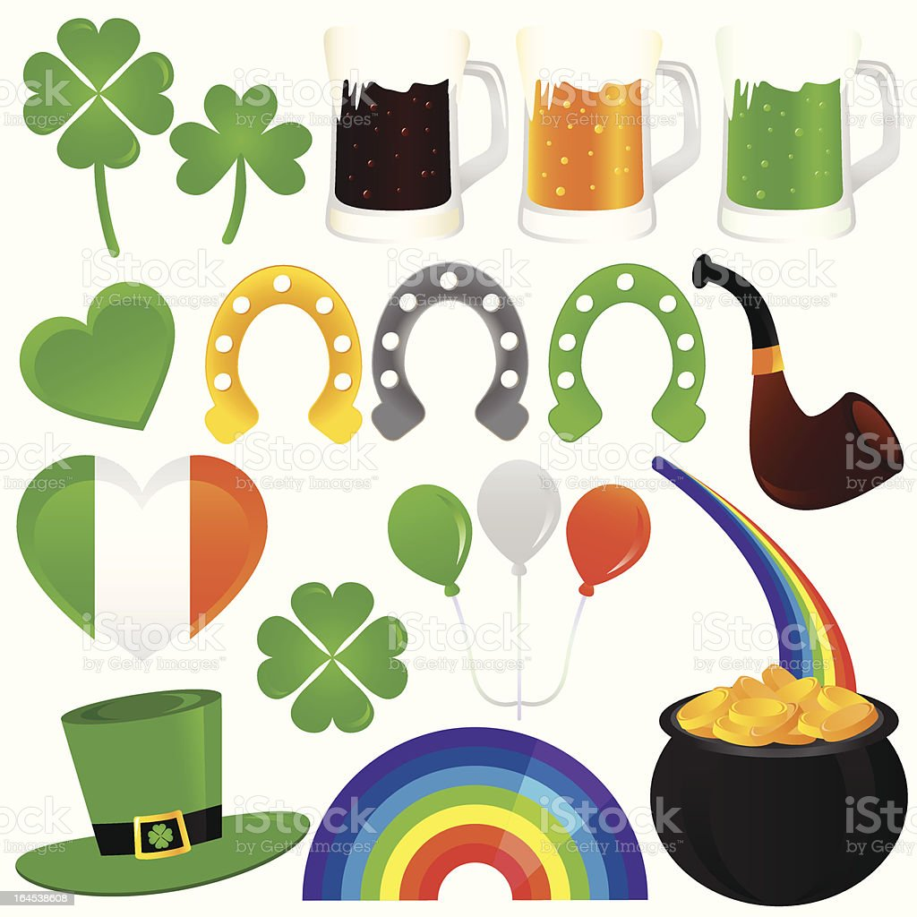 Vector Icons : Saint Patrick's Day, cold beer royalty-free stock vector art
