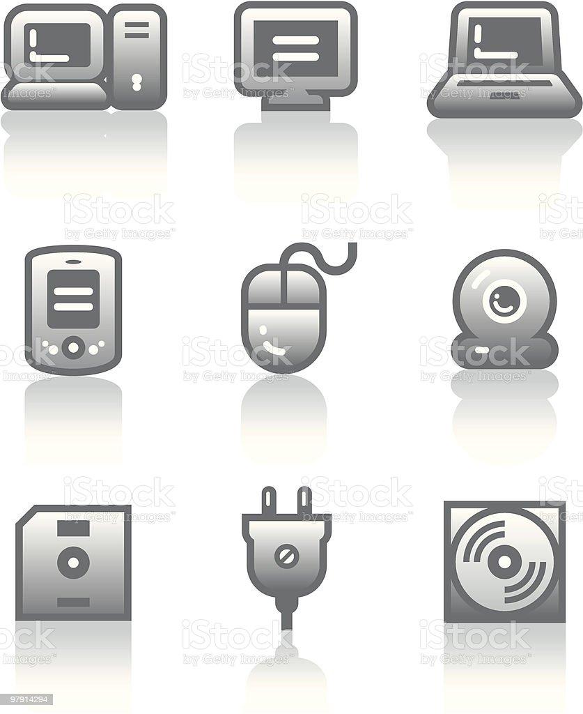 Vector icons set – Hardware vector art illustration