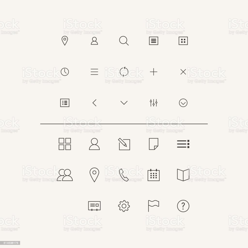 Vector Icons Set in Flat Style vector art illustration