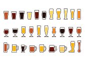 Vector icons set of beer mugs and glasses