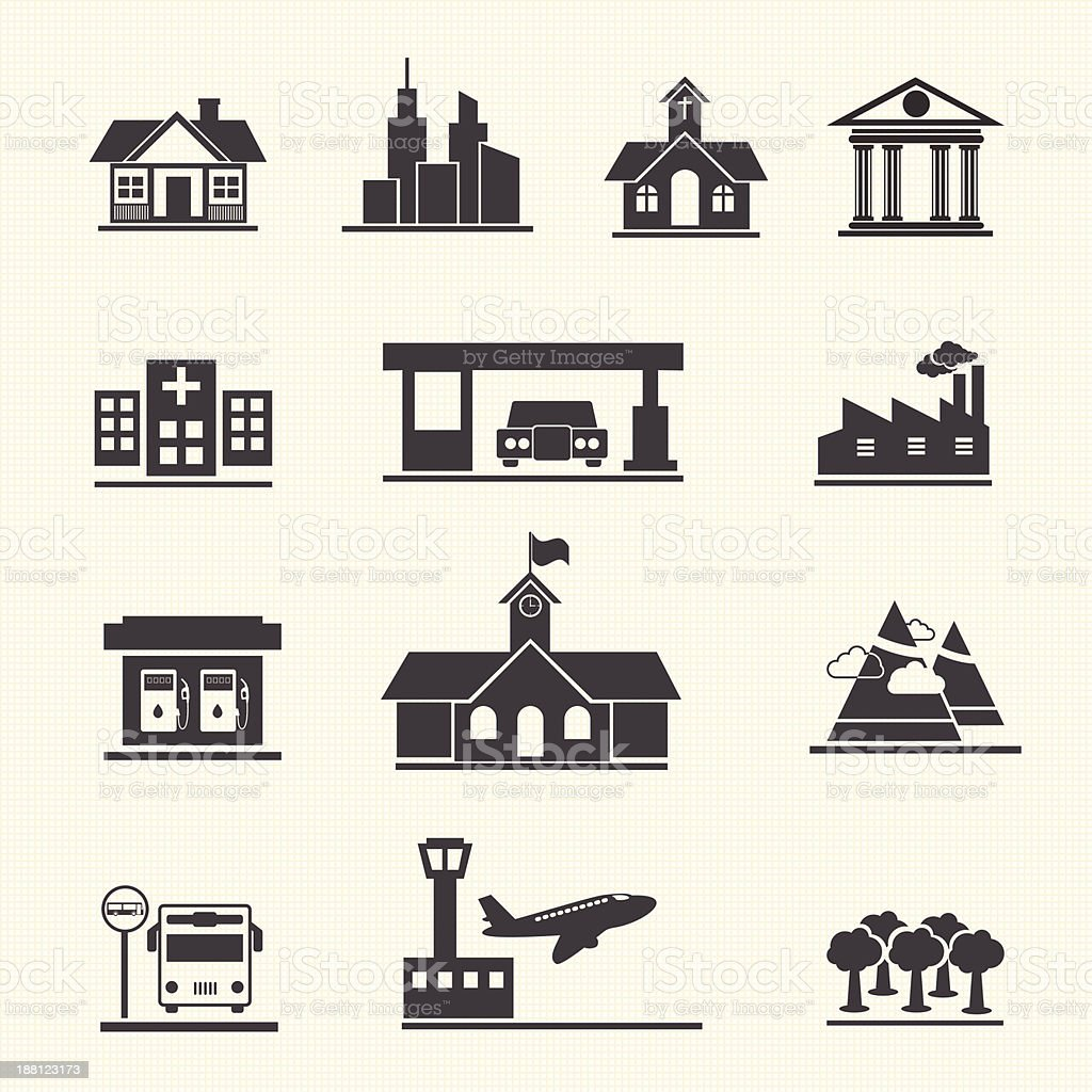 Vector icons set of places. royalty-free stock vector art