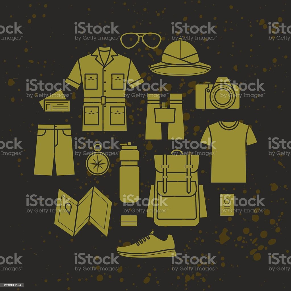 Vector icons set of safari clothing and accessories vector art illustration