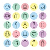 Vector icons set of  womens clothing and accessories