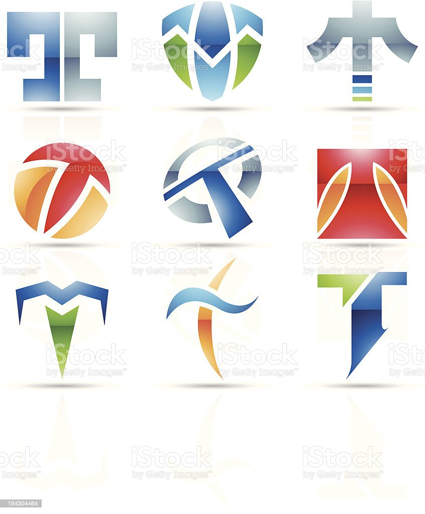 Vector icons showing the letter T in various abstract forms royalty-free stock vector art