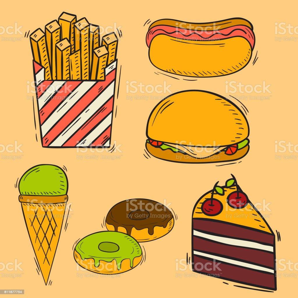 Vector icons sweet fast food hand drawn restaurant breakfast cake design kitchen unhealthy dessert vector art illustration