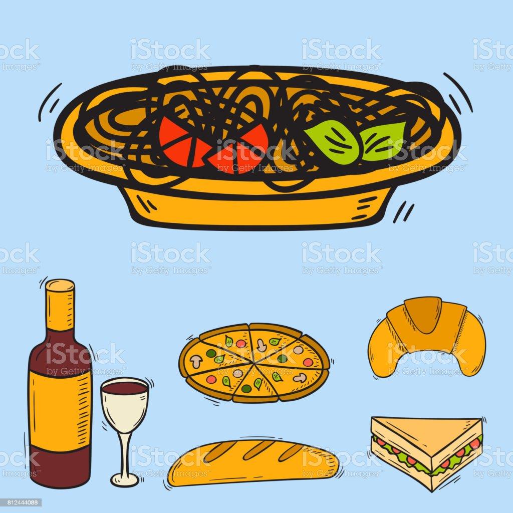 Vector icons sweet fast food hand drawn restaurant breakfast design kitchen unhealthy meal vector art illustration