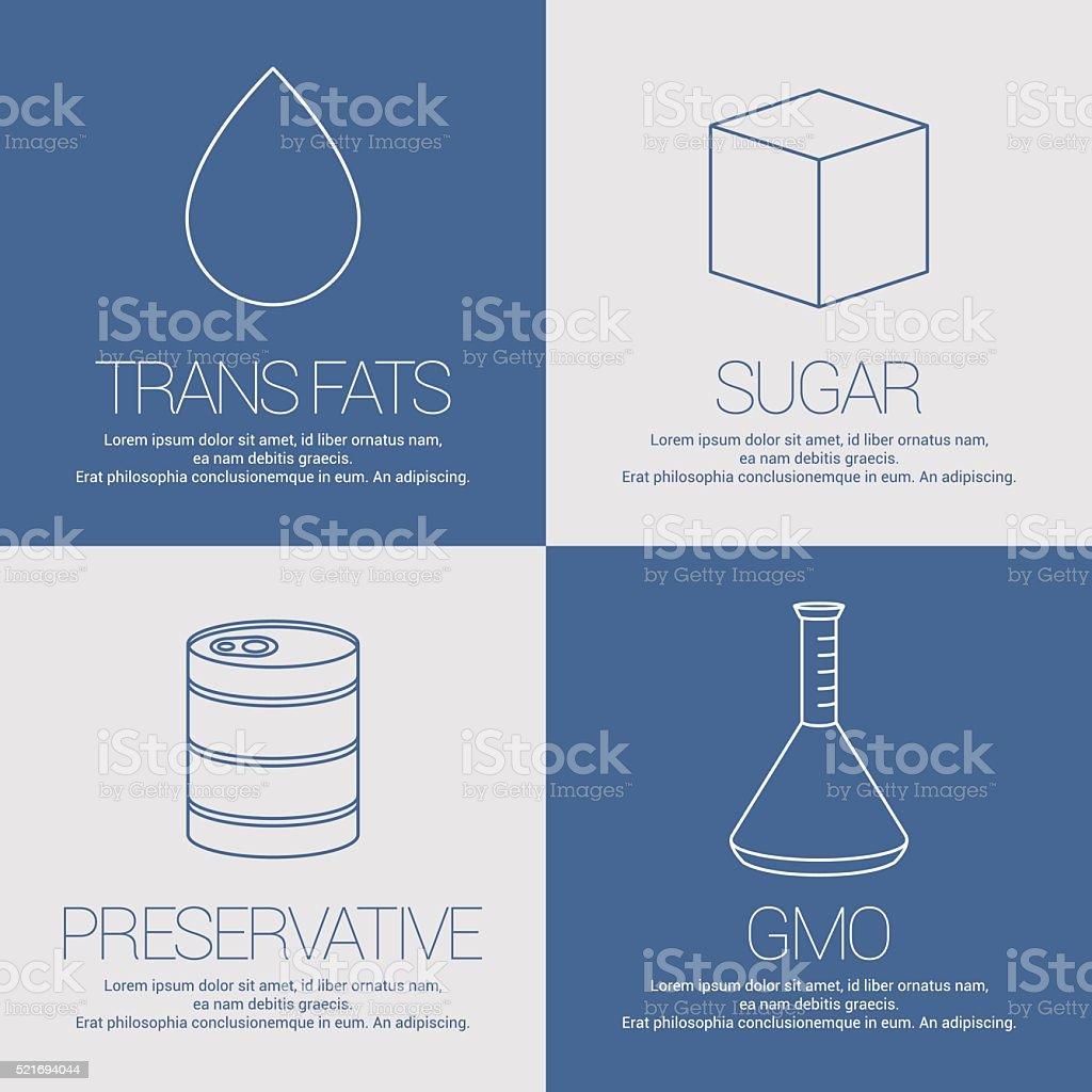 Vector icons, symbols of GMO, sugar, preservative vector art illustration