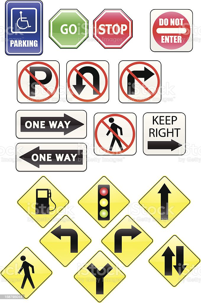 Vector icons Traffic Signs vector art illustration