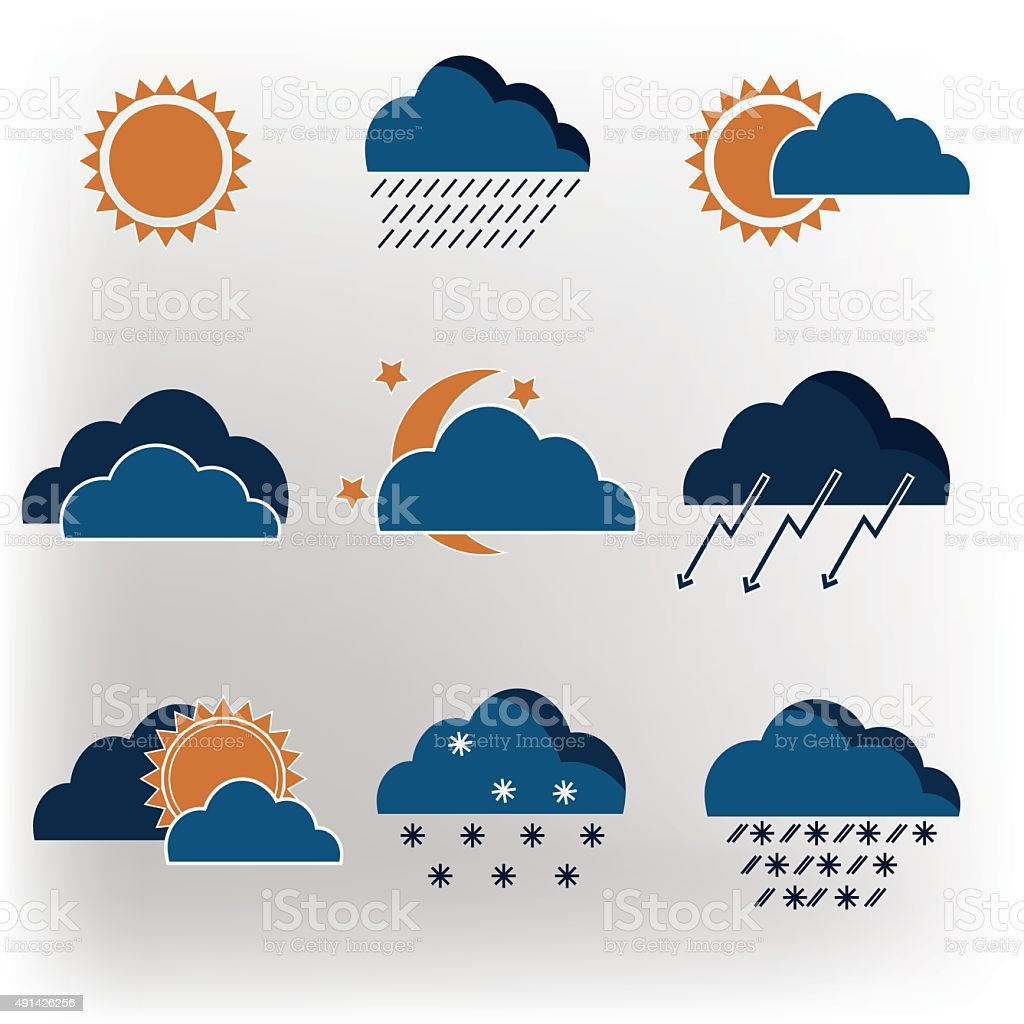 Vector icons weather forecast vector art illustration
