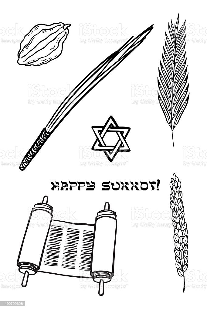 Vector iconset for Sukkot (Jewish Traditional Holiday). vector art illustration