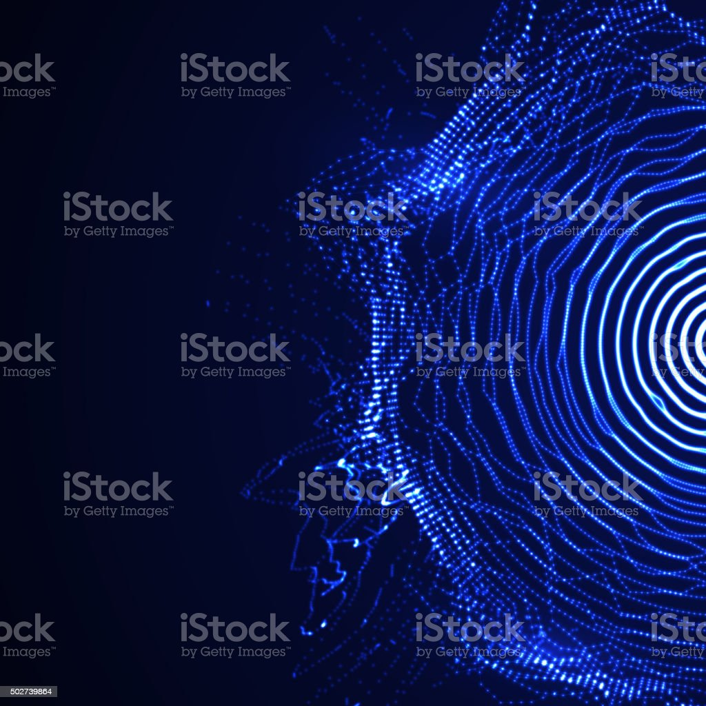 vector illuminated shape of particles array vector art illustration