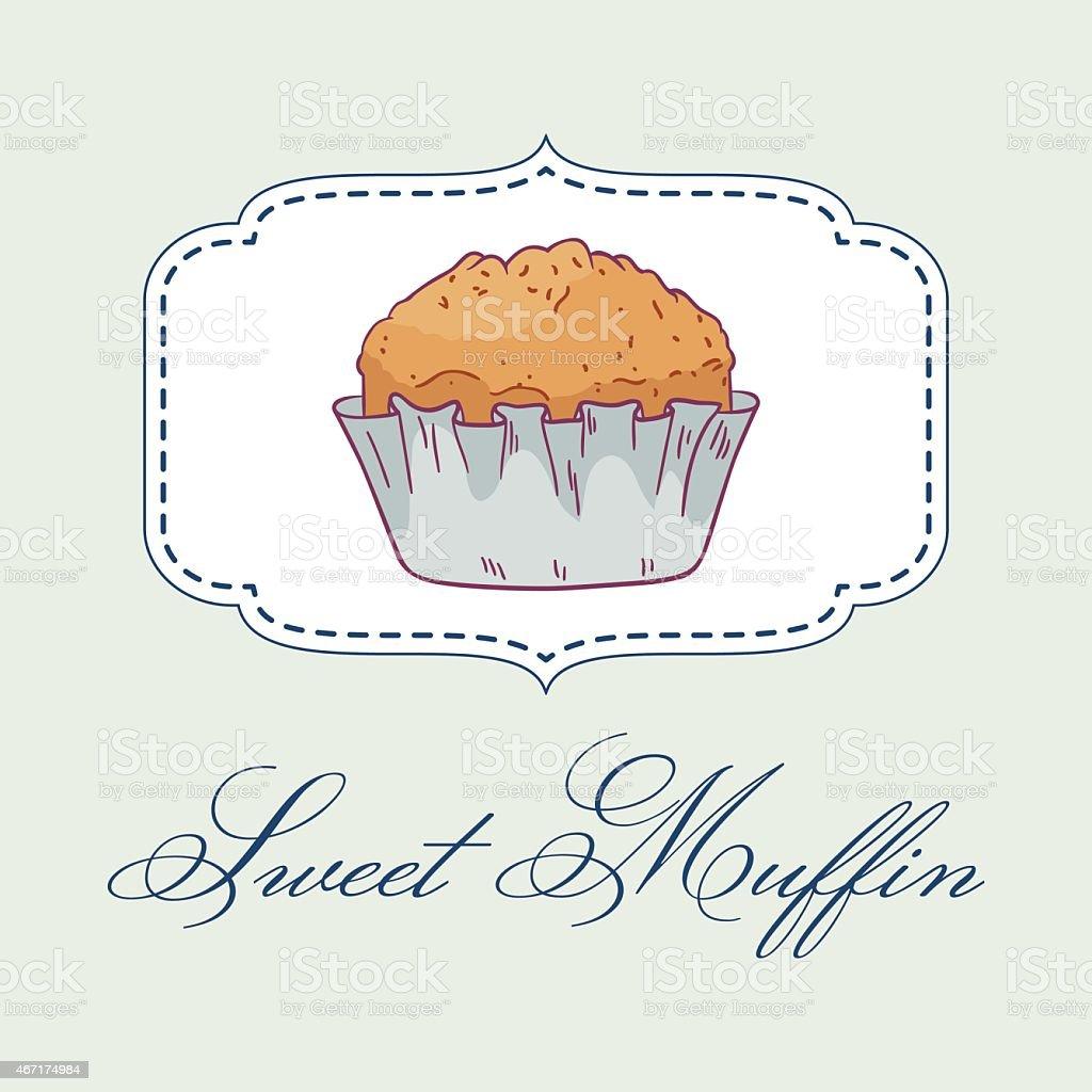 Vector illustartion of hand drawn muffin. vector art illustration