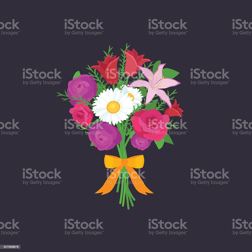 Vector illustraion bouquet of flowers greeting cart Happy Mothers Day vector art illustration