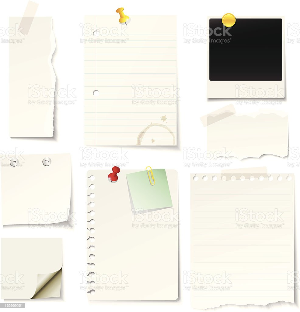 A vector illustrated blank notes and paper design vector art illustration