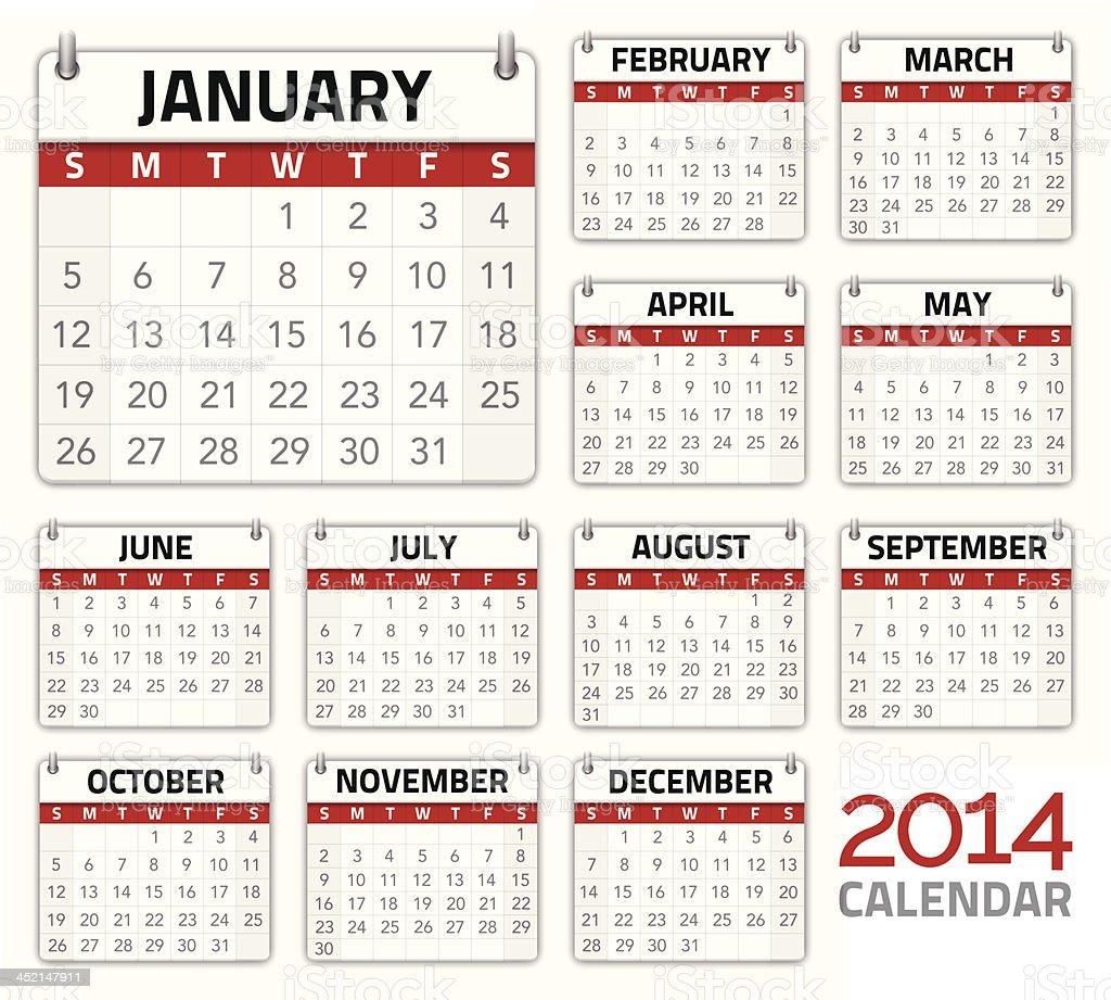 Vector illustration 2014 calendar planner royalty-free stock vector art