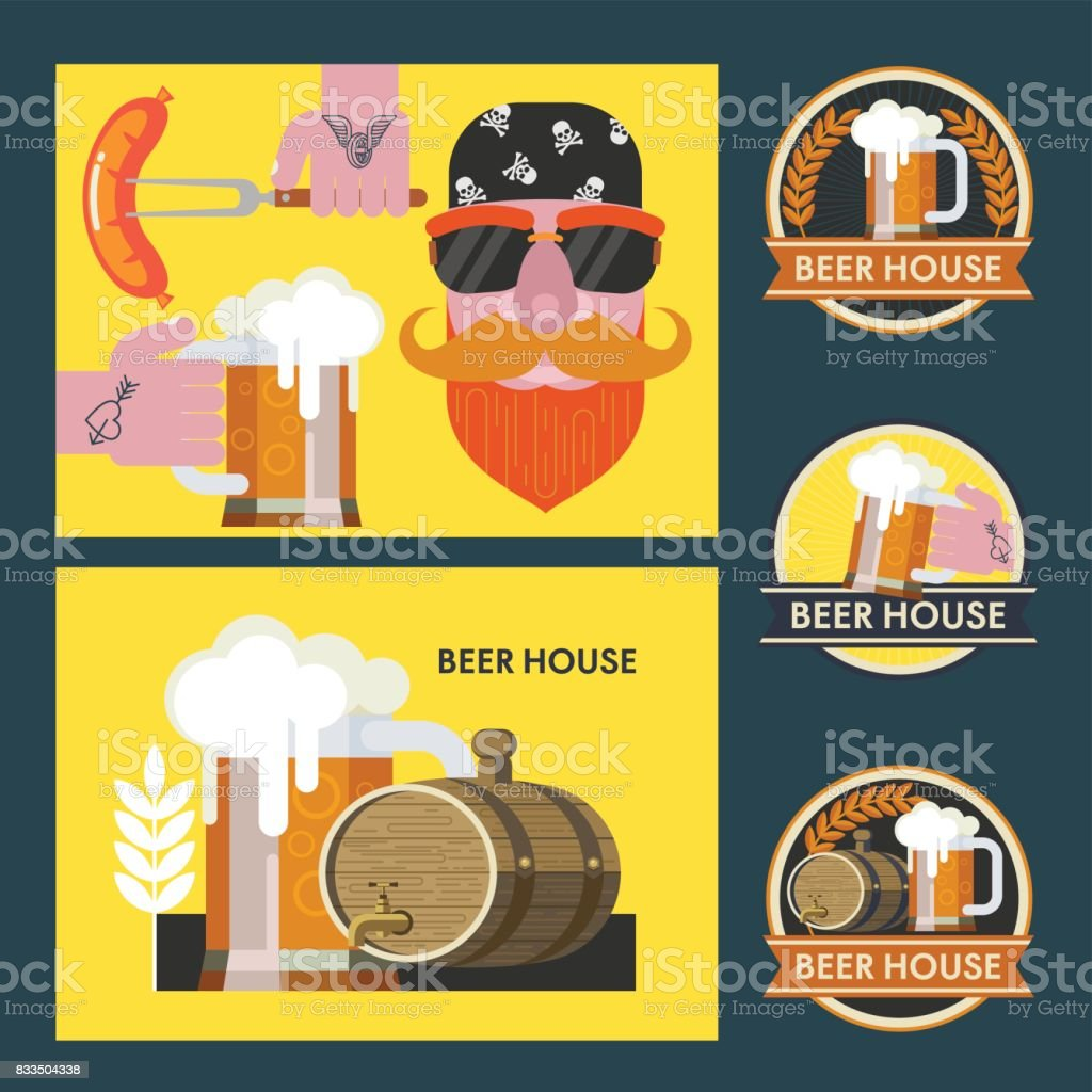 Vector illustration. A bearded man in a bandana with sunglasses. A mug of beer in his hand with a tattoo. Grilled sausage on a fork in his hand. Collection of vector logos beer bar. vector art illustration