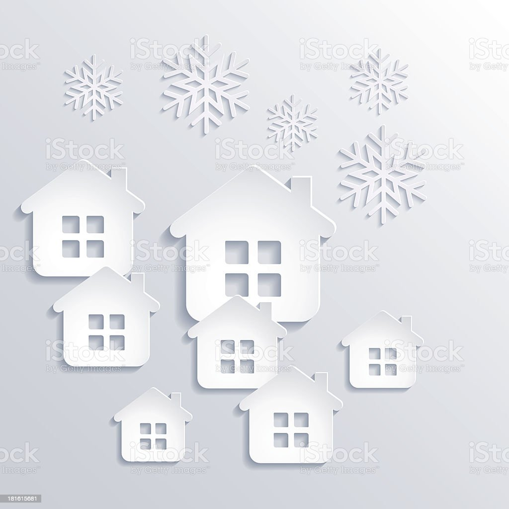 Vector illustration abstract Christmas Background with snowflakes and houses royalty-free stock vector art