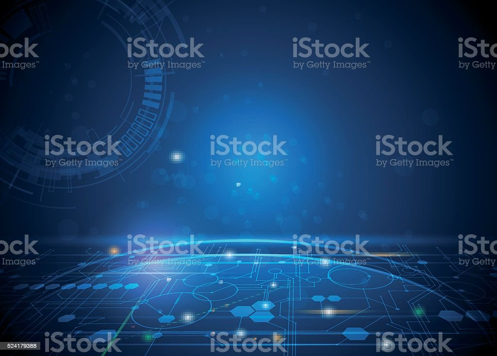 Vector illustration Abstract futuristic hexagons and circuit board vector art illustration