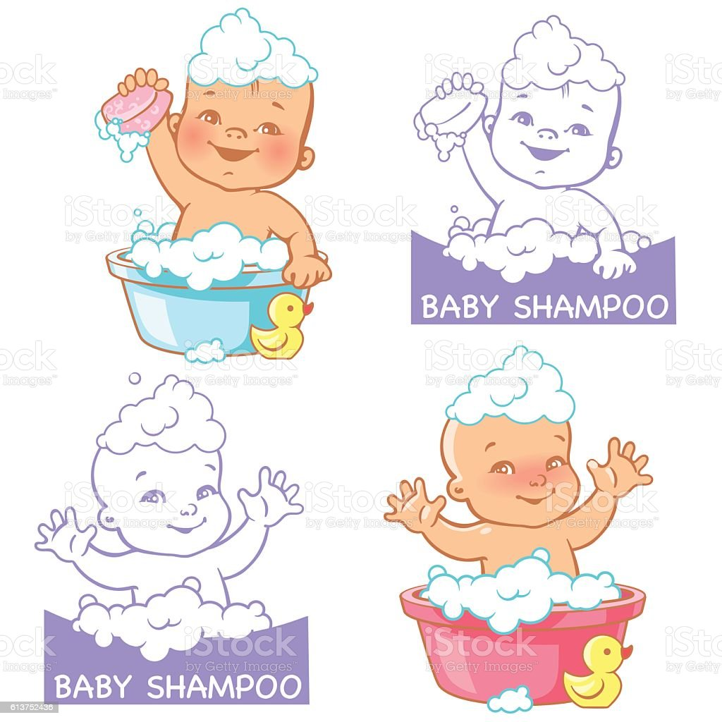 Vector illustration and logo for baby soap and shampoo vector art illustration
