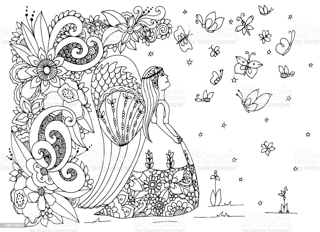 Vector illustration angel girl with flowers. Doodle drawing vector art illustration