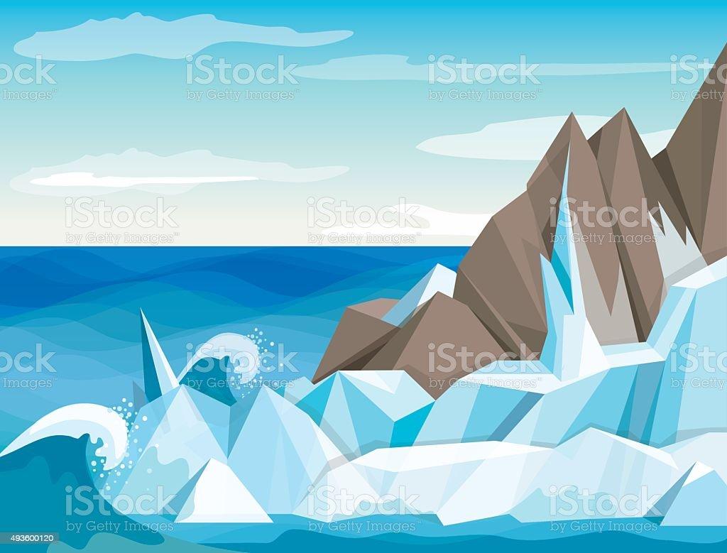 Vector illustration Antarctic landscape vector art illustration