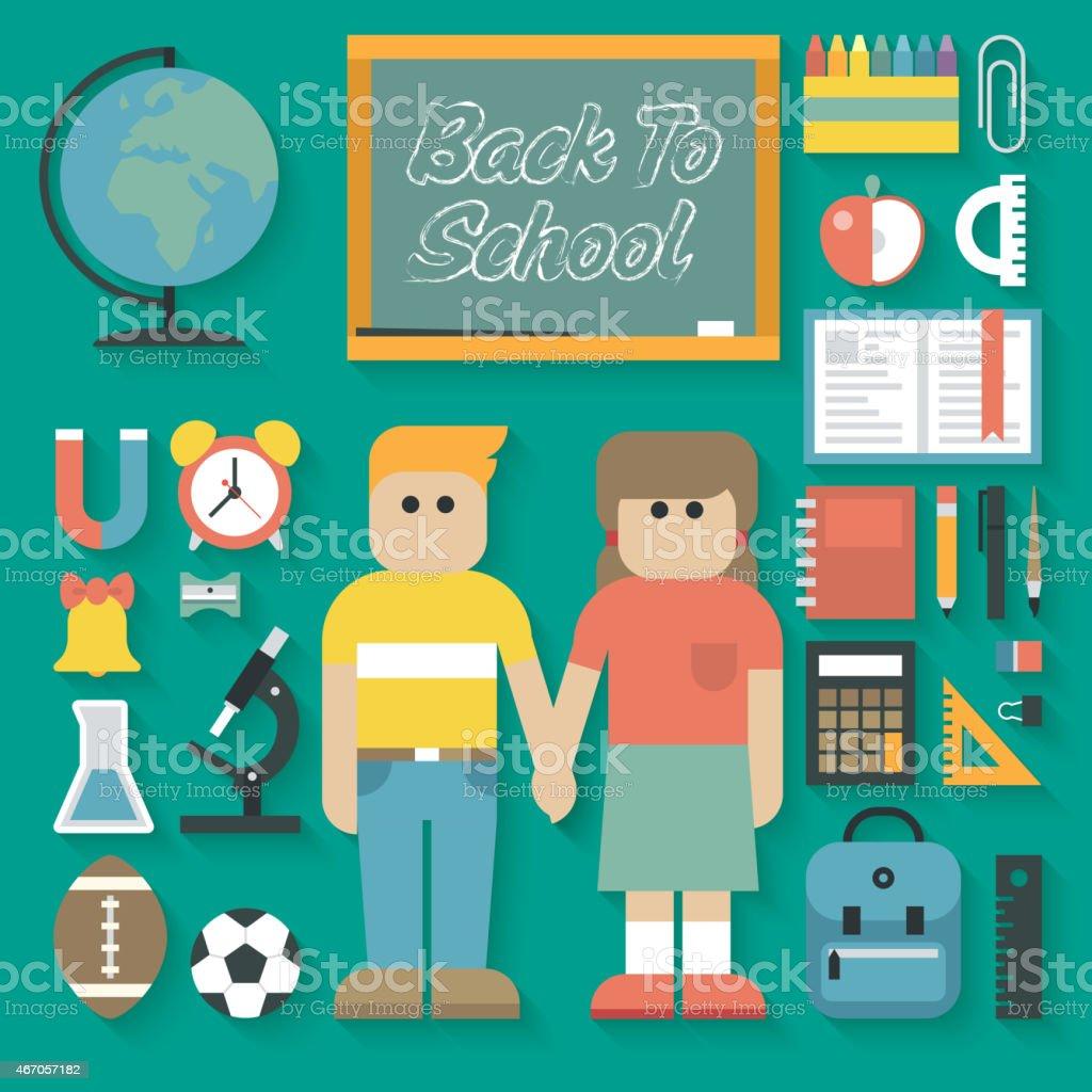 Vector illustration: Back to School Flat Icons Set vector art illustration