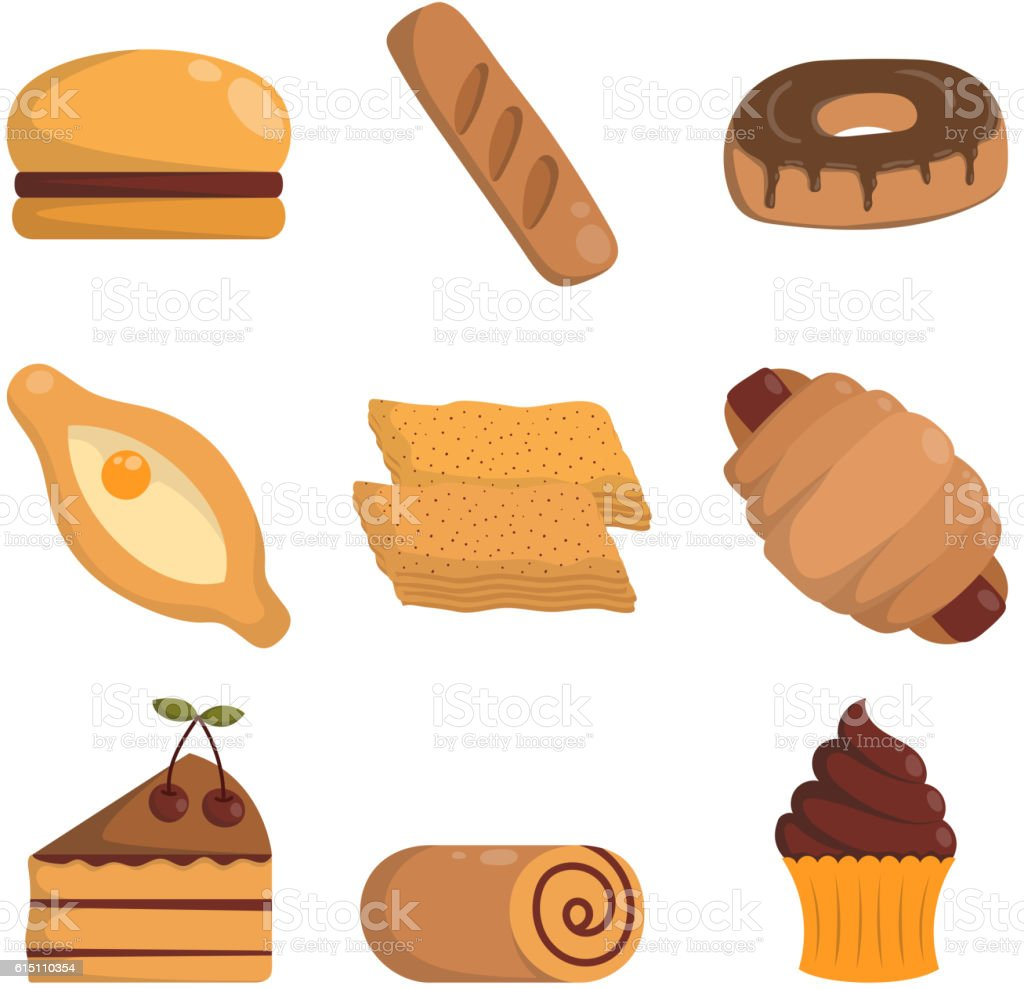 Vector illustration bakery products. vector art illustration