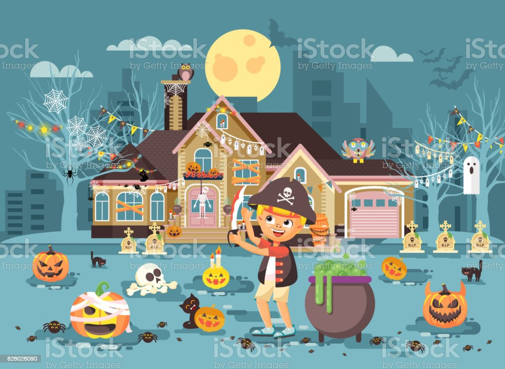 Vector illustration banner brochure cartoon character child Trick-or-Treat, boy costume fancy dresses warrior robber pirate with sword celebrate holiday party Happy Halloween pumpkins flat style vector art illustration