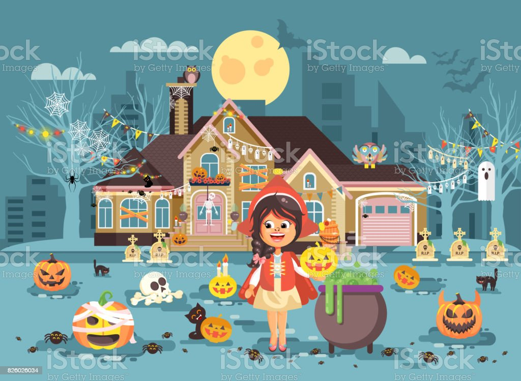 Vector illustration banner brochure cartoon character child Trick-or-Treat, girl costume fancy dresses Little Red Riding Hood cauldron celebrate holiday party Happy Halloween pumpkins flat style vector art illustration