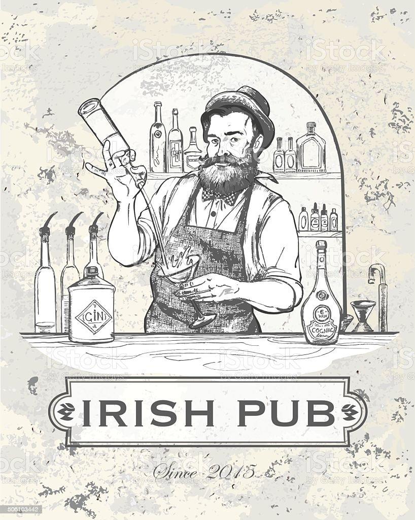 Vector illustration - Barman in work vector art illustration
