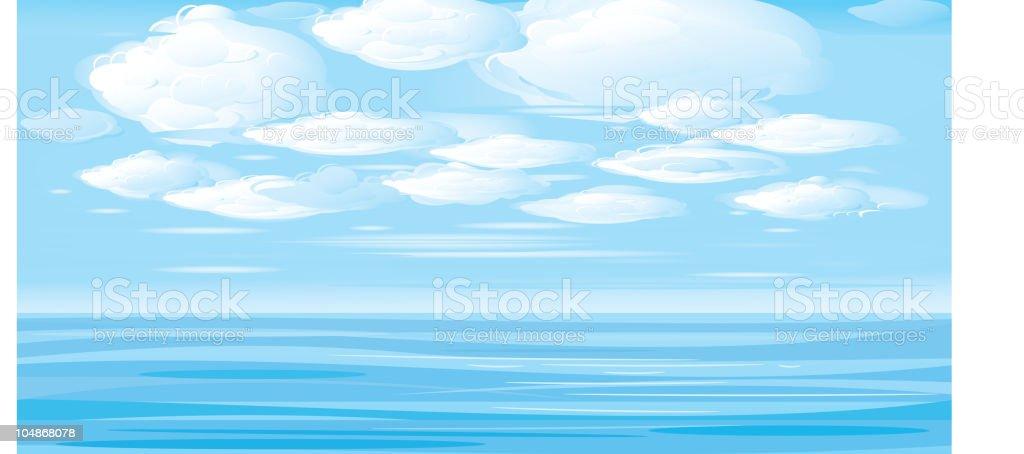 Vector illustration. Beautiful landscape sea and clouds sky. vector art illustration