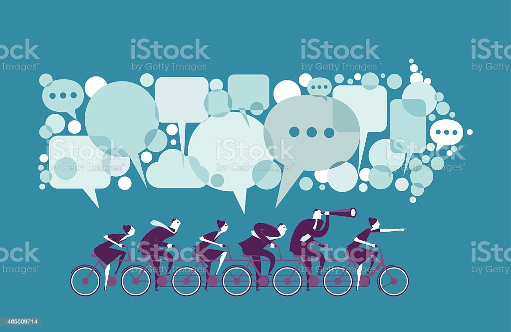 Vector illustration - Business people ride together vector art illustration