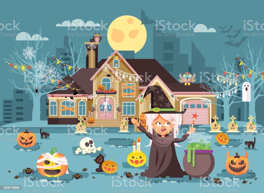 Vector illustration cartoon character child Trick-or-Treat, girl costumes, fancy dresses witch conjures cauldron celebrate holiday party Happy Halloween, decorated pumpkins, skeletons flat style vector art illustration