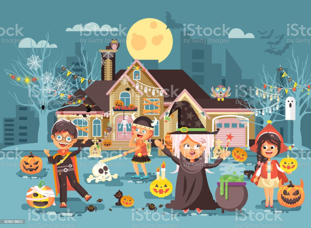 Vector illustration cartoon characters children Trick-or-Treat, boy, girl costumes, fancy dresses celebrate holiday party Happy Halloween, decorated pumpkins, skeletons, volatile mice flat style vector art illustration