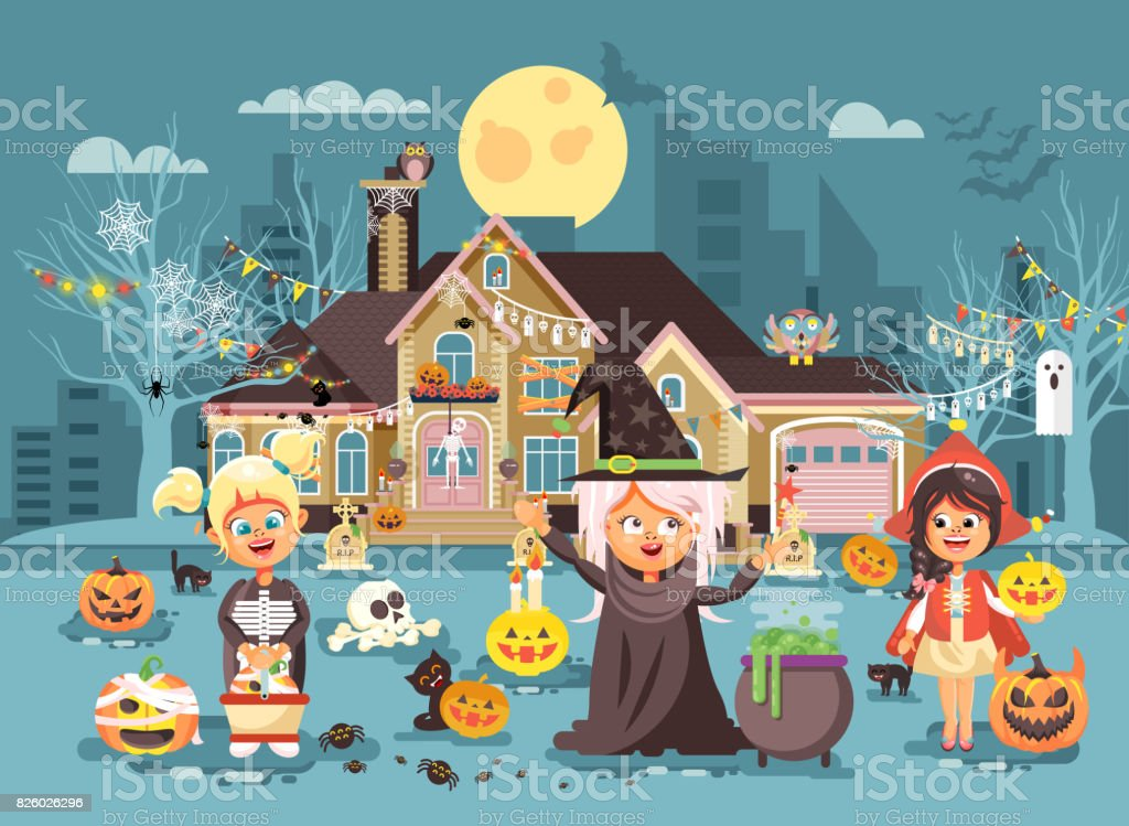 Vector illustration cartoon characters children Trick-or-Treat, girls costumes, fancy dresses skeleton, witch, Little Red Riding Hood celebrate holiday party Happy Halloween, pumpkins flat style vector art illustration