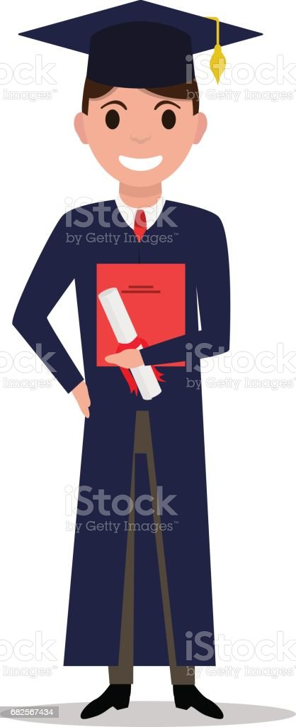 Vector illustration cartoon student boy graduate vector art illustration