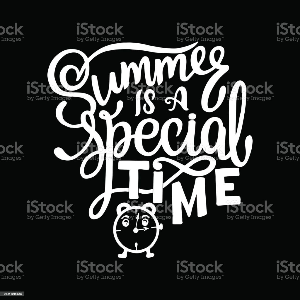 Vector illustration Chalk lettering composition of Summer quotes on white background. Summer lettering for cards, posters, prints and more vector art illustration