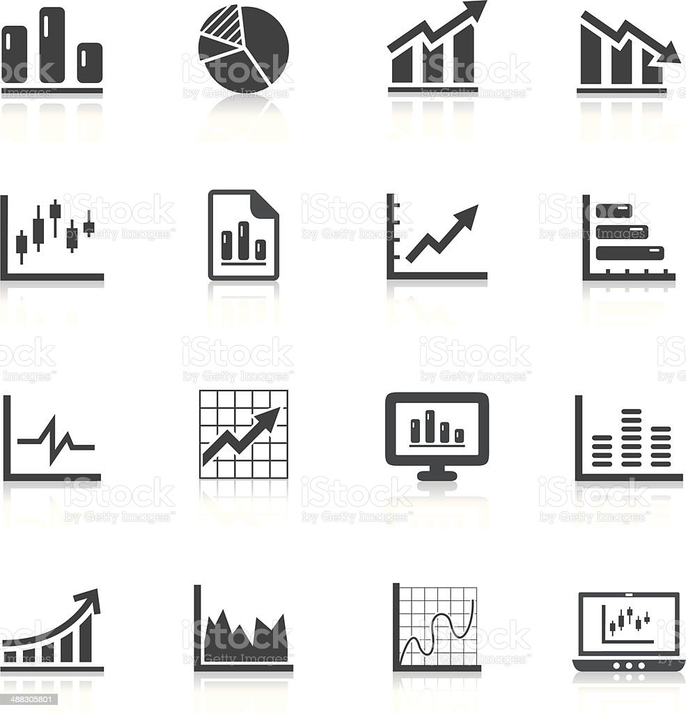 Vector illustration charts and graph icons vector art illustration