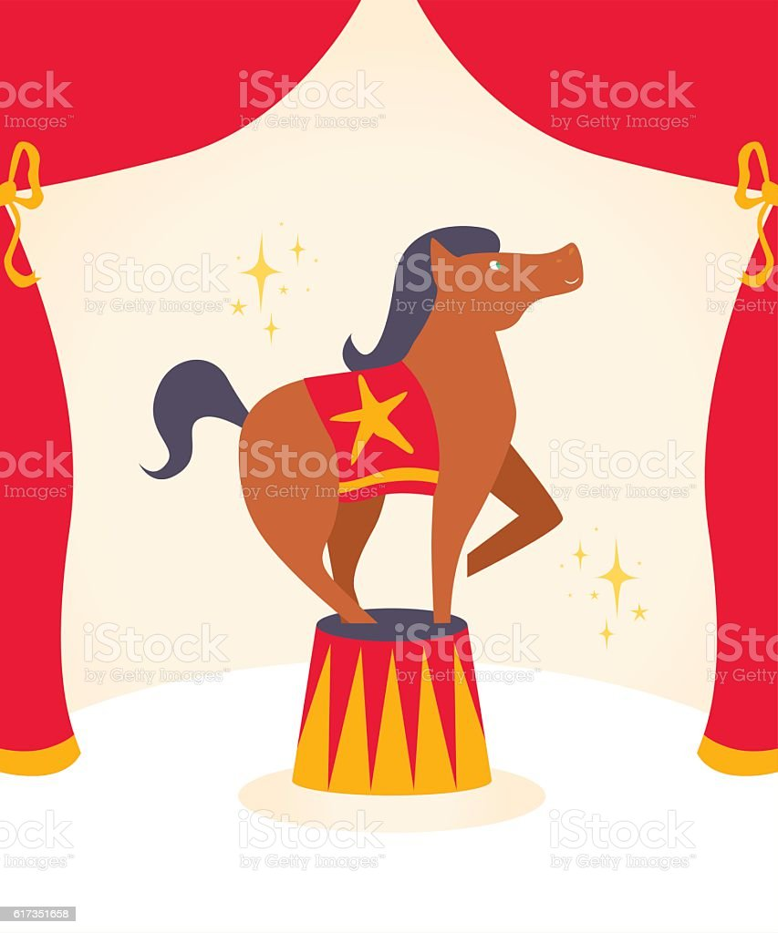 Vector illustration, circus horse, card concept, beautiful background. vector art illustration