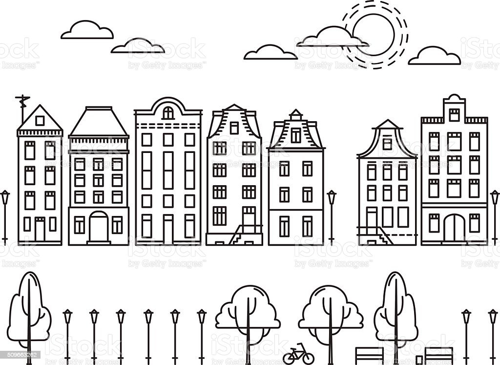 Vector illustration. City in linear style with trees and clouds vector art illustration
