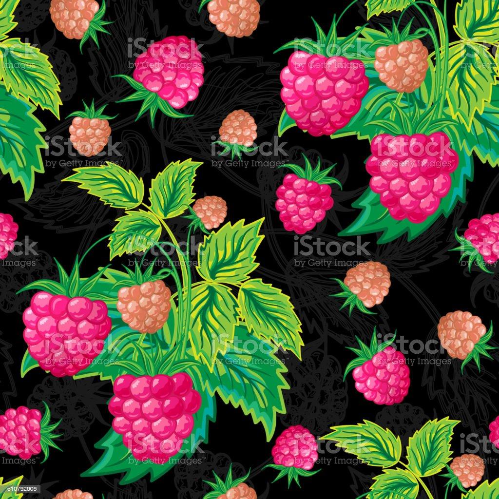 vector illustration. Colorful blue pink seamless pattern of raspberries. vector art illustration