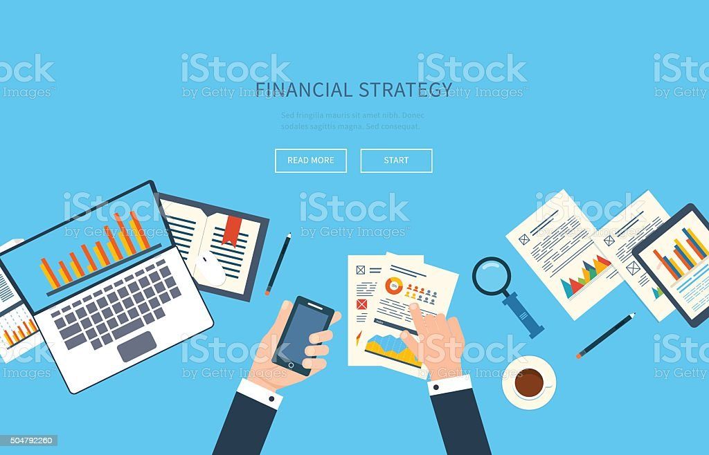 Vector illustration concept of analyzing project, financial report, market research. vector art illustration