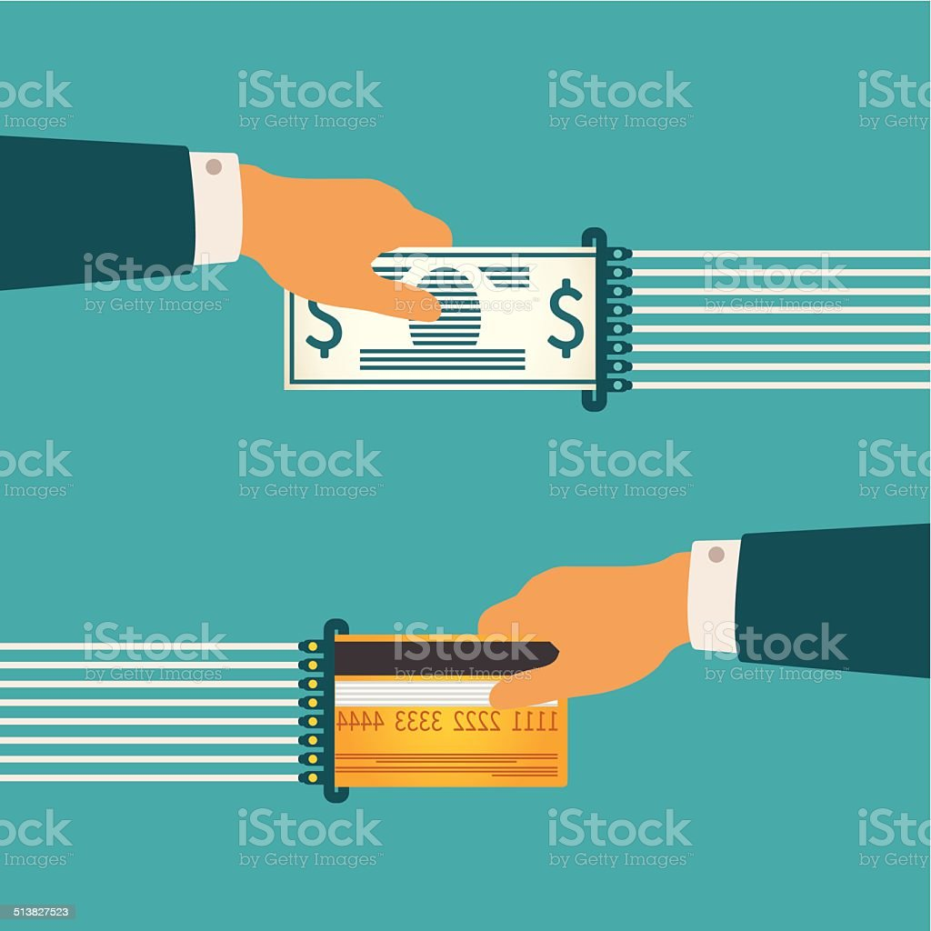 Vector illustration concept of cash and non-cash money circulation vector art illustration