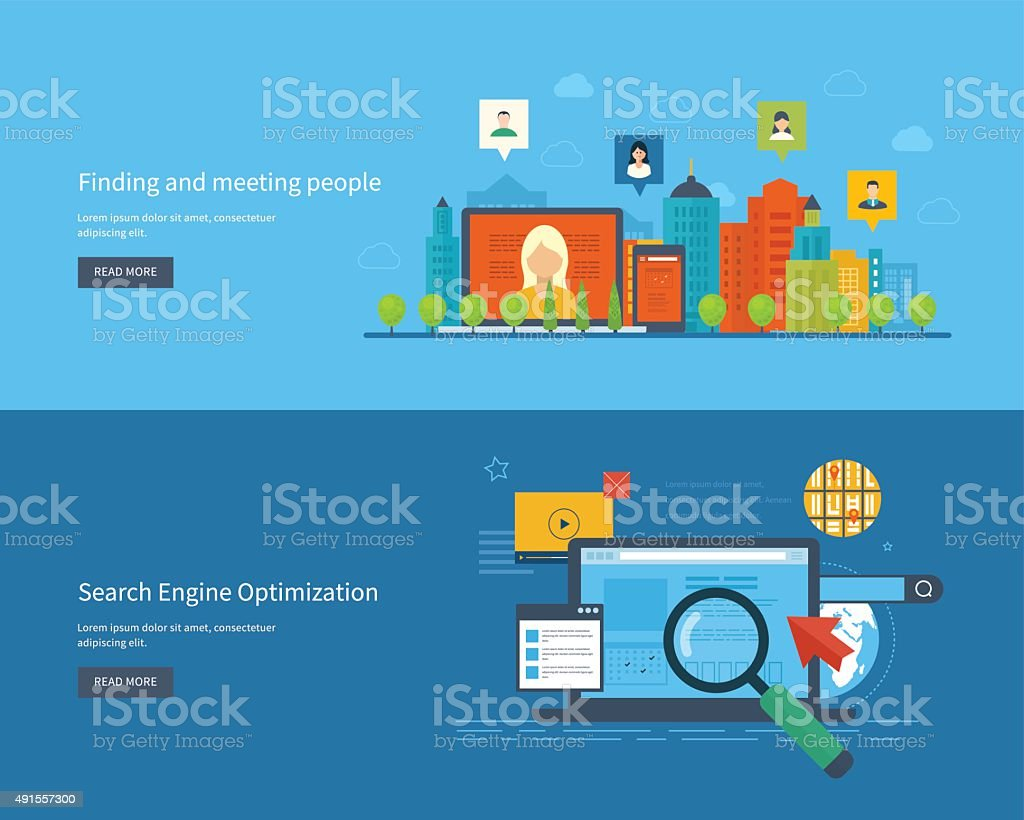 Vector illustration concepts for finding and meeting people. Urban landscape vector art illustration