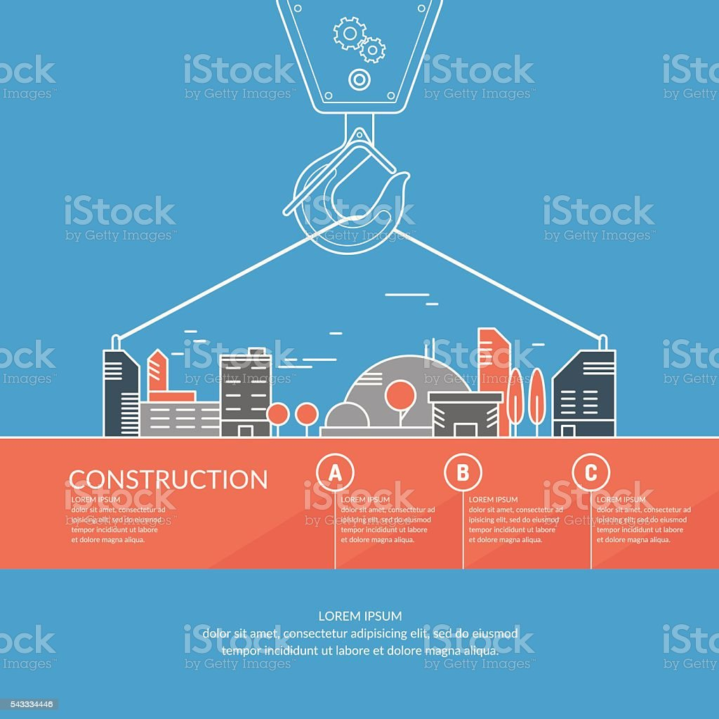 Vector illustration Construction with a crane and houses vector art illustration