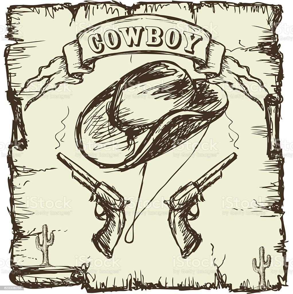 Vector illustration  cowboy hat and revolvers vector art illustration