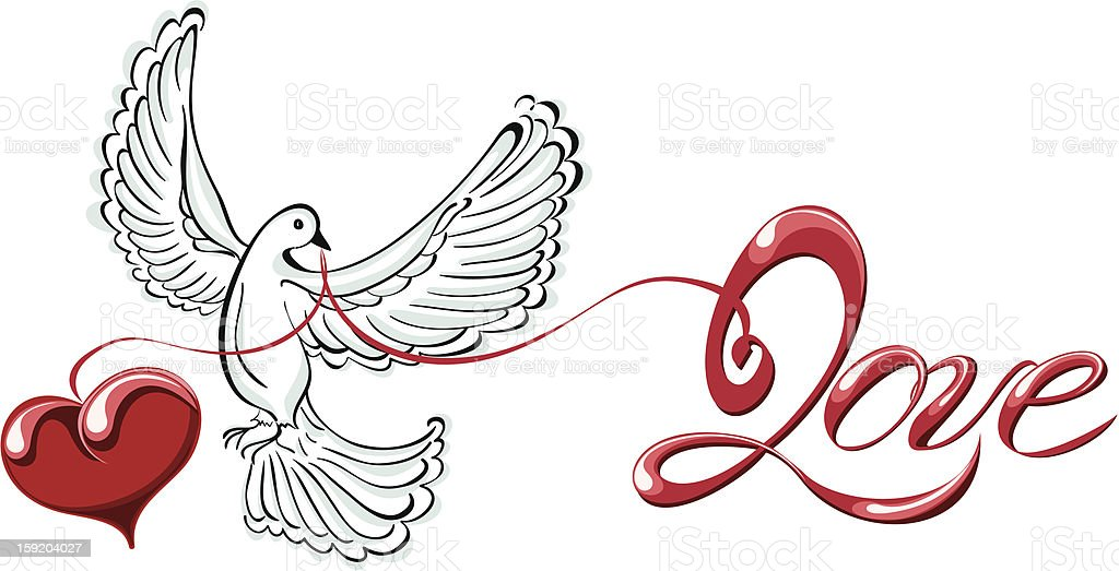 Vector illustration dove with love and heart shaped royalty-free stock photo